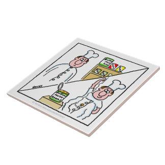 Lustiger Knopf-Pilz-Kochs-Cartoon niedliches Große Quadratische Fliese