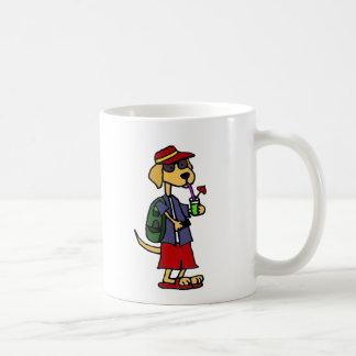 Lustiger Labrador-Retriever am Strand-Cartoon Kaffeetasse