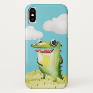 Lustiger lächelnder Alligator iPhone X Hülle