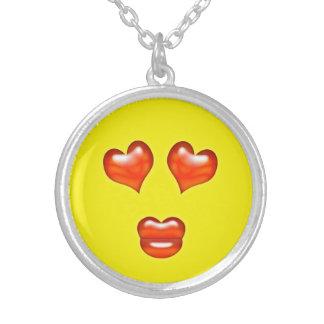 Lustiger Liebe-Kuss Emoji smiley Versilberte Kette