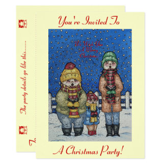 lustiger Liedsängerschneeszenen-Weihnachtsentwurf 16,5 X 22,2 Cm Einladungskarte
