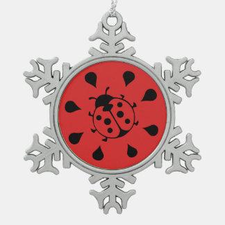 Lustiger Marienkäfer und Wassermelone Schneeflocken Zinn-Ornament