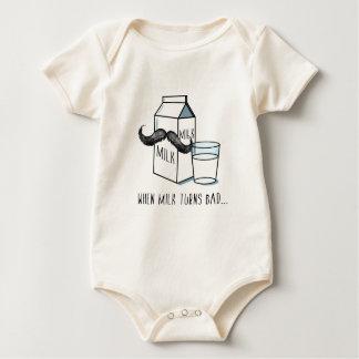 Lustiger Milch-u. Schnurrbart-Bio Baby Strampler