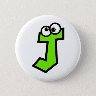 Lustiger Monogramm-Buchstabe J Runder Button 5,7 Cm