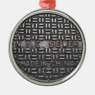 Lustiger New- York Cityabwasserkanal-humorvolles Silbernes Ornament