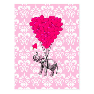 Lustiger niedlicher Elefant u. rosa Damast Postkarte