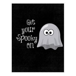 Lustiger, niedlicher Halloween-Geist; Erhalten Sie Postkarte