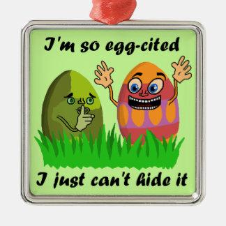 Lustiger niedlicher Osterei-Cartoon Quadratisches Silberfarbenes Ornament