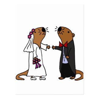 Lustiger Otter-Hochzeits-Cartoon Postkarte