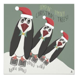 Lustiger Pinguin-Weihnachtsplätzchen-Austausch Quadratische 13,3 Cm Einladungskarte