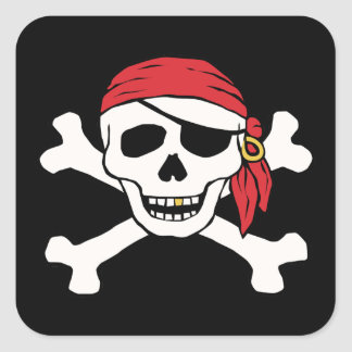 Lustiger Pirat Quadrat-Aufkleber
