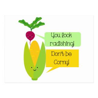 Lustiger Rettich-und Mais-Gemüse-Spaß Postkarte