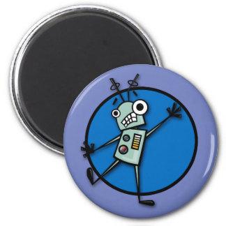 LUSTIGER ROBOTER-MAGNET RUNDER MAGNET 5,7 CM