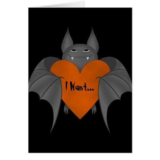 Lustiger romantischer Halloween-Vampirsschläger Grußkarte
