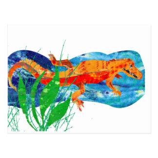 Lustiger roter Alligator Postkarte