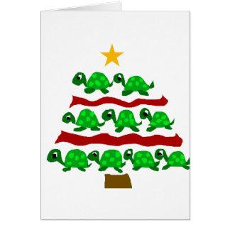 Lustiger Schildkröte-Kunst-Weihnachtsbaum-Entwurf Karte