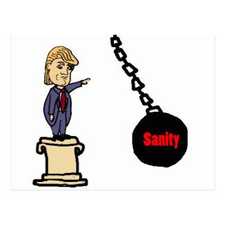 Lustiger Schlag-Trumpf weg vom Sockel-Cartoon Postkarte