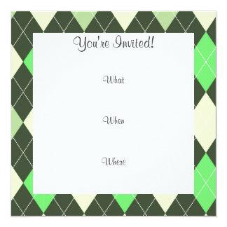 Lustiger Schnurrbart; Grüne Raute Quadratische 13,3 Cm Einladungskarte