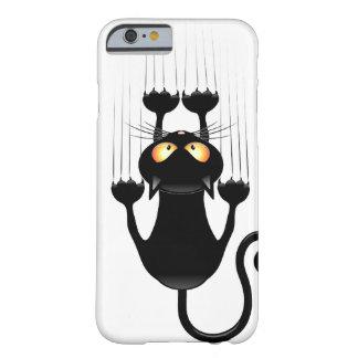 Lustiger schwarze Katzen-Cartoon, der Wand Barely There iPhone 6 Hülle