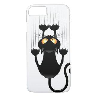 Lustiger schwarze Katzen-Cartoon, der Wand iPhone 7 Hülle