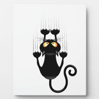 Lustiger schwarze Katzen-Cartoon, der Wand verkrat Schautafel