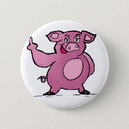 Lustiger Schwein-Mittelfinger-Knopf Runder Button 5,1 Cm