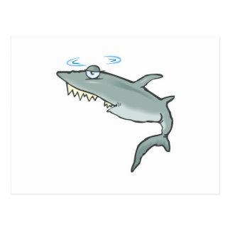 lustiger schwindliger Haifisch Postkarte