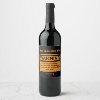Lustiger selbst gemachter Wein-Warnschild Weinetikett