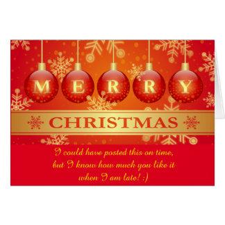 Lustiger später frohe Weihnacht-Wunsch Karte
