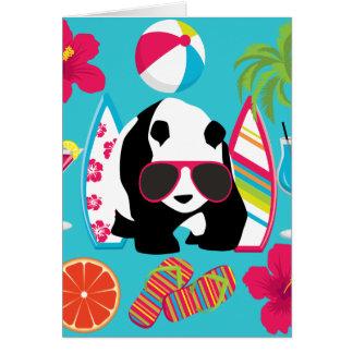 Lustiger surfende Panda-Bärn-Strand-Gammler-coole Grußkarte