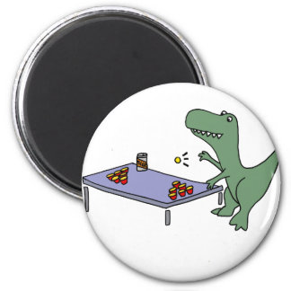 Lustiger T-rex Dinosaurier, der Bier Pong spielt Runder Magnet 5,1 Cm