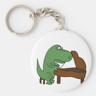 Lustiger T-Rex Dinosaurier, der Klavier spielt Standard Runder Schlüsselanhänger