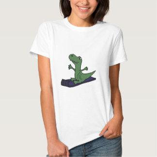 Lustiger Trex Dinosaurier-Sledding Cartoon Hemden
