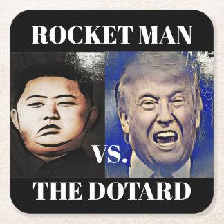 Lustiger Trumpf gegen UNO-Bar-Untersetzer Kim-Jong Rechteckiger Pappuntersetzer