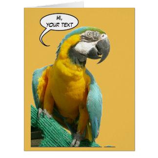 Lustiger Unterhaltungs-Papagei Cust. Riesige Grußkarte