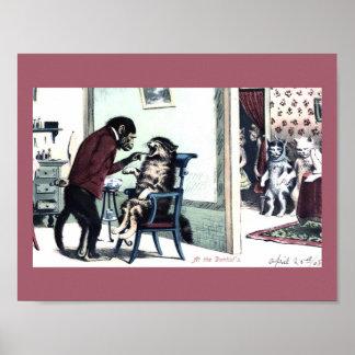 Lustiger Vintager Druck-Affe-Zahnarzt mit Poster