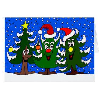 Lustiger Weihnachtsbaum-Cartoon Karte