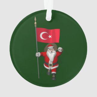Lustiger Weihnachtsmann mit Flagge von der Türkei Ornament