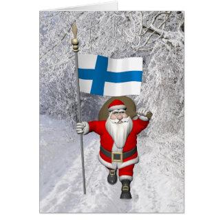 Lustiger Weihnachtsmann mit Flagge von Finnland Grußkarte