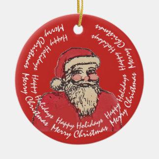 Lustiger Weihnachtsmann mit Ihrem Text Keramik Ornament