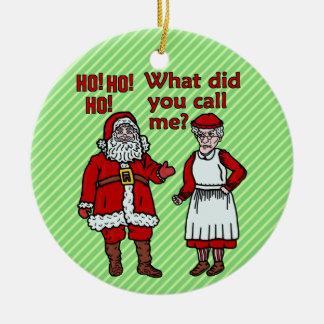 Lustiger Weihnachtsmann u. Frau Christmas Keramik Ornament