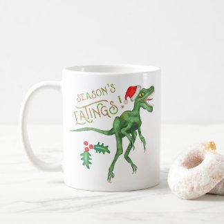 Lustiger Weihnachtsvelociraptor-Dinosaurier Kaffeetasse