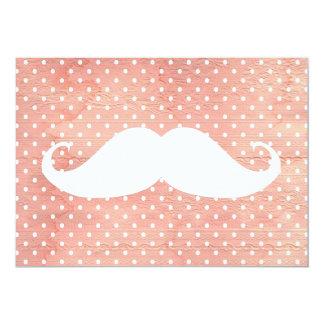 Lustiger weißer Schnurrbart auf rosa Tupfen-Muster 12,7 X 17,8 Cm Einladungskarte