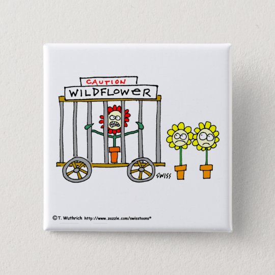Lustiger Wildblumen-Cartoon-Knopf Quadratischer Button 5,1 Cm