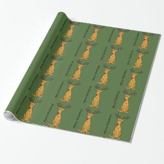 Lustiger Windhund-Hund als Weihnachtsren Geschenkpapier