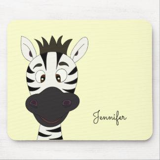 Lustiger Zebra-Cartoon-Gelbname scherzt mousepad