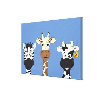Lustiger Zebragiraffen-Kuh-Cartoon scherzt Leinwanddruck