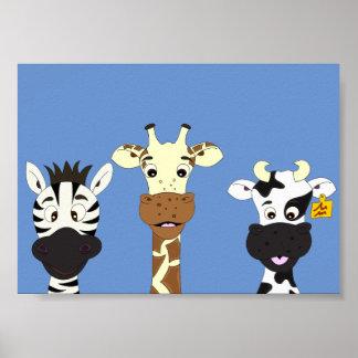 Lustiger Zebragiraffen-Kuh-Cartoon scherzt Plakat