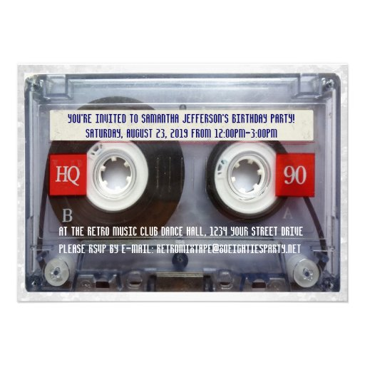 Lustiges 80er Kassette Mixtape Party Einladungskarte