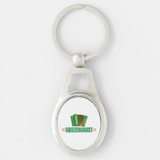 Lustiges Akkordeon Silberfarbener Oval Schlüsselanhänger